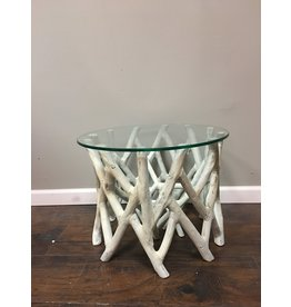 Driftwood Style Glass Top Accent Table