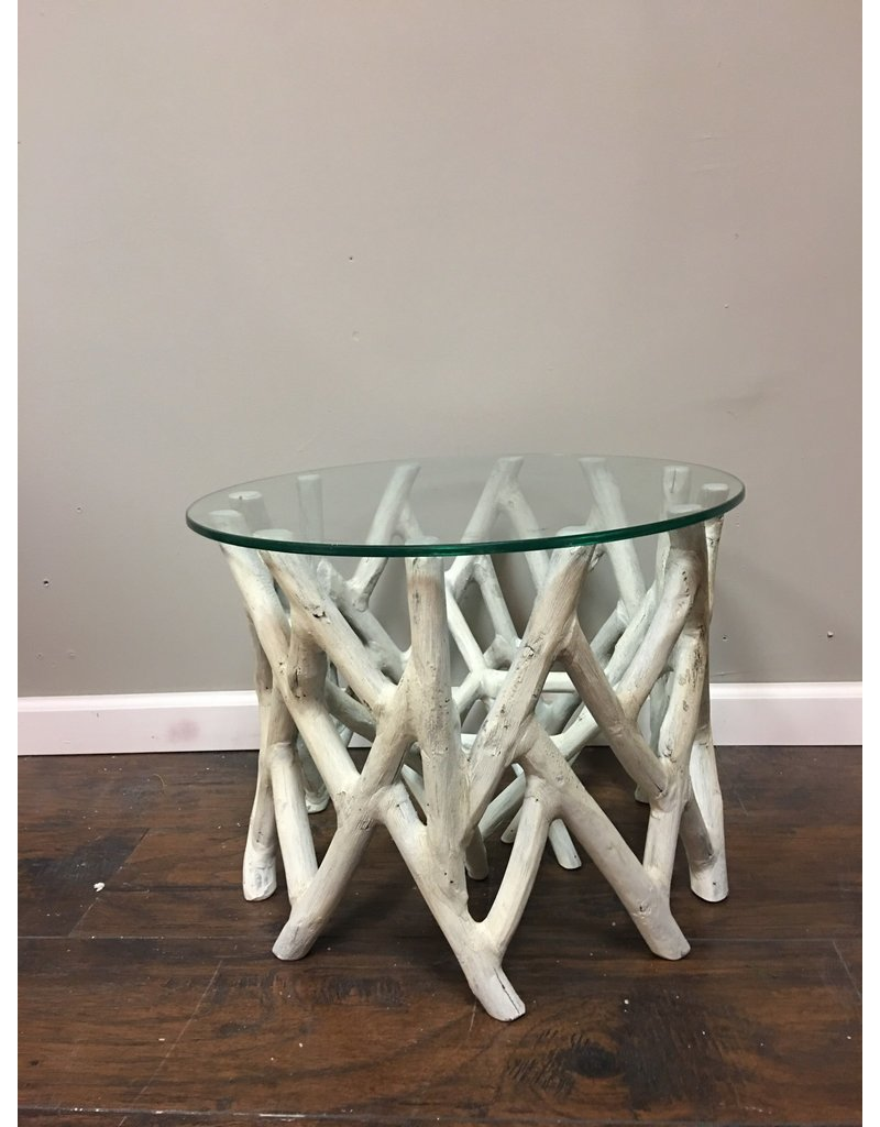 - Driftwood Style Glass Top Accent Table - Heirloom Home