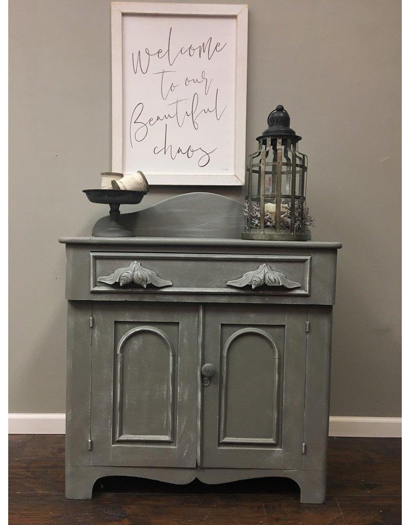 Gray Victorian Washstand w Backsplash