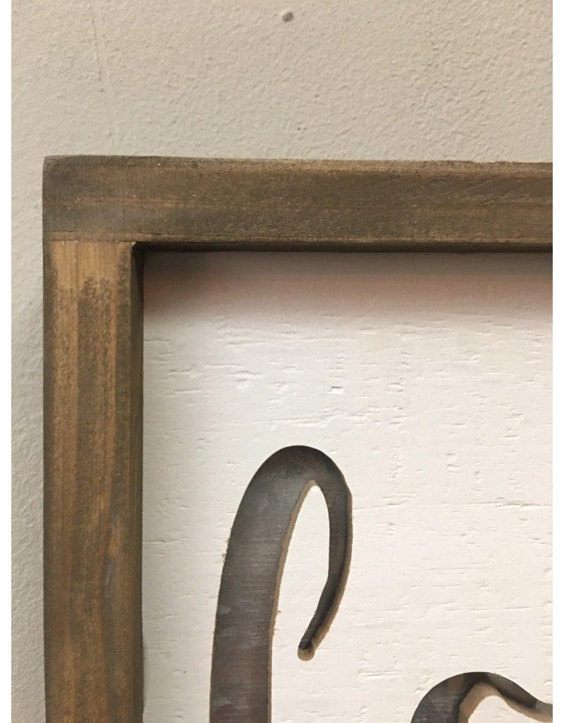 Framed Metal Cutout Love Sign