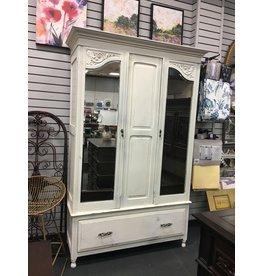 Textured White Antique Armoire