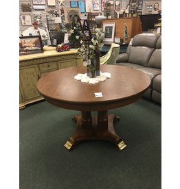 Double Pedestal Round Dining Table w Brass Cap Feet