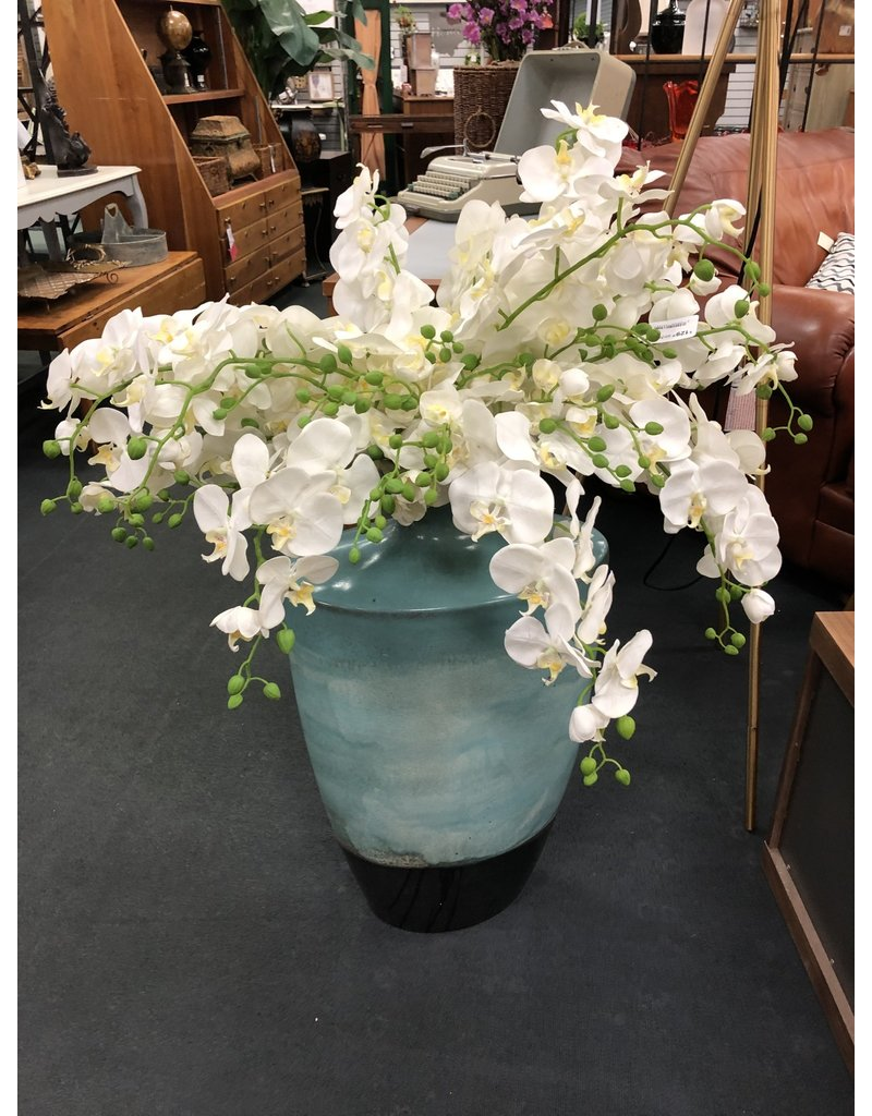 Large Blue and Brown Floor Vase w Orchids