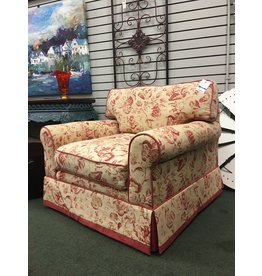 Rolled Arm Floral Ivory Armchair