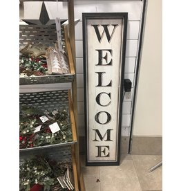 Vertical Welcome Framed Wall Sign, 12x47
