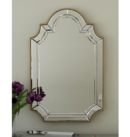 Willa Arlo Interiors Ekaternia Arch/Crowned Top Champagne Mirror