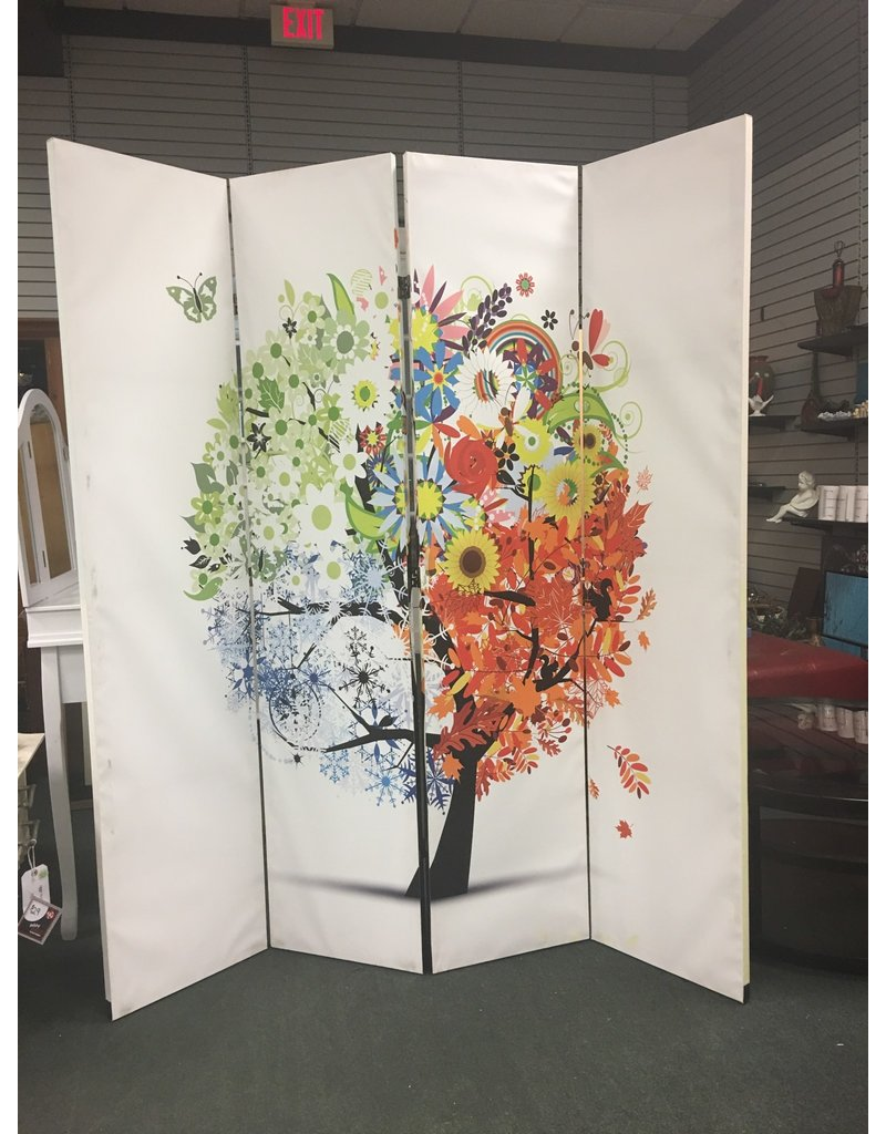 Dual Sided 4 Panel Canvas Screen - Tree