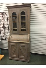 Gray Stained Antique Barrel Secretary Desk