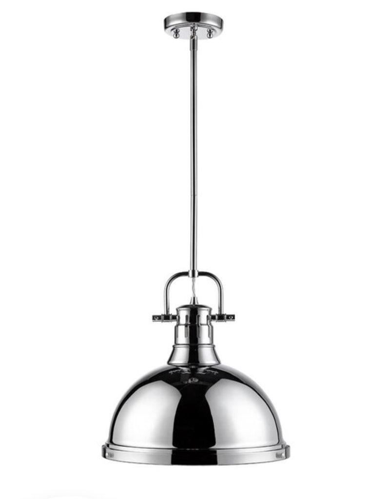 Beachcrest Home Bodalla 1-Light Single Dome Pendant - Chrome