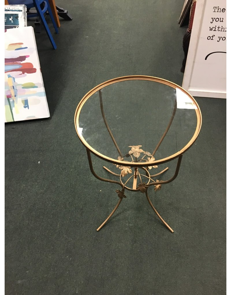 Floral Brass Glass Top Plant Stand