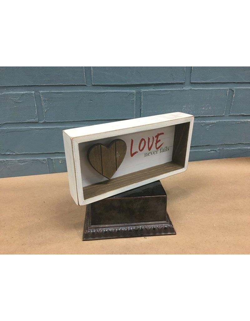 Slat Wood Heart Shadow Box Sign