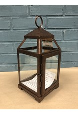 Three Posts Contemporary Iron Lantern - Bronze