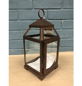 Three Posts Contemporary Iron Lantern - Bronze