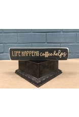 "Life Happens Coffee Helps Engraved Block 8"""