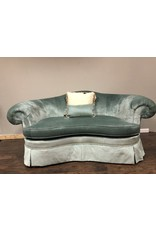 Hickory Chair Sovereign Teal Velvet Settee