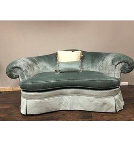 Hickory Chair Sovereign Teal Velvet Settee