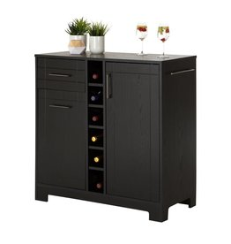 South Shore Vietti Black Oak Bar Cabinet