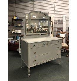 Vintage Gray Painted Dresser w Mirror