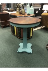 Teal Painted Pedestal Side Table