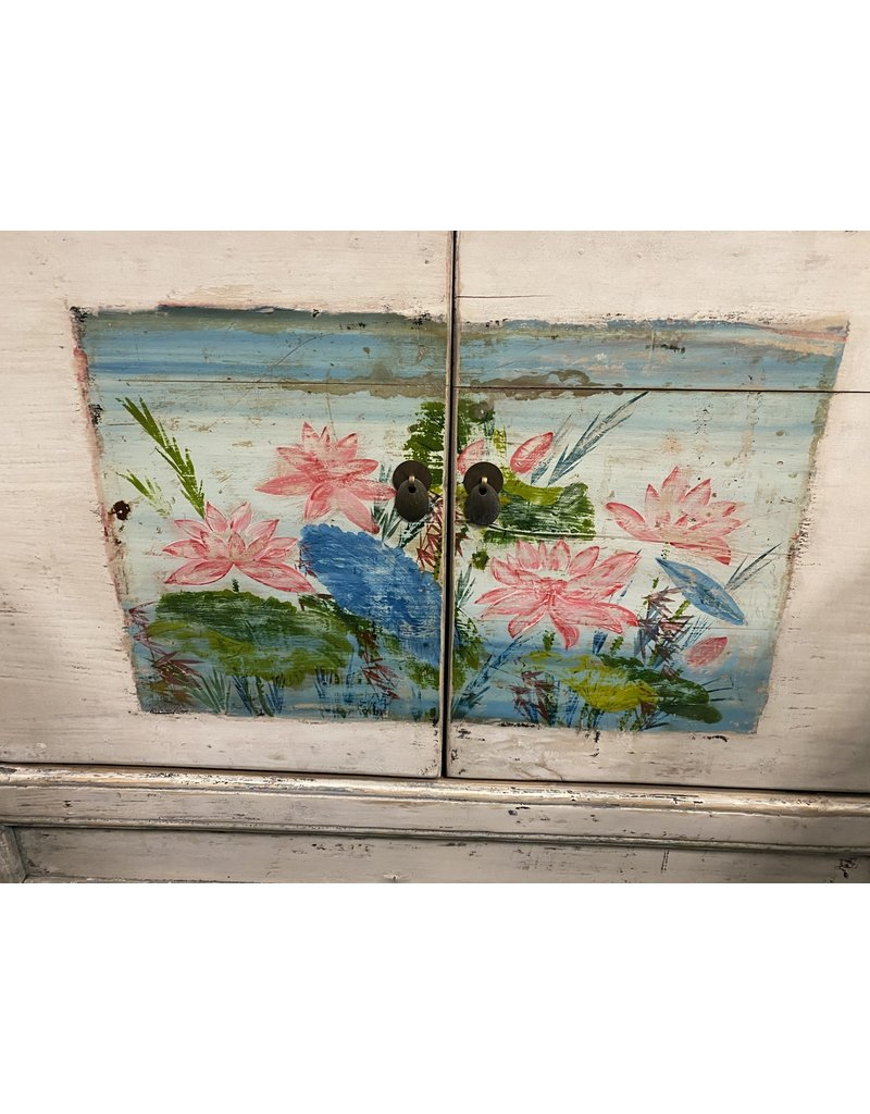 White Painted Asian Style Buffet w/ Hand Painted Detail