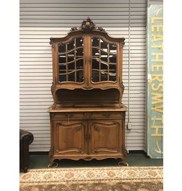Antique European Step Back China Cabinet