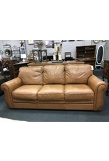 Camel 3 Cushion Leather Sofa