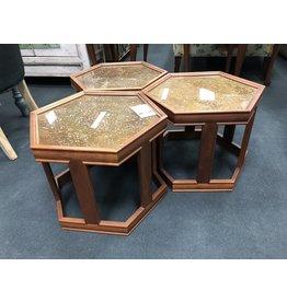 Set of 3 Brown Saltman Hexagon Side Tables