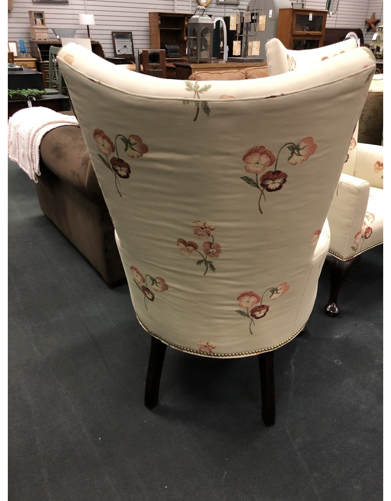 Ivory Highback Pansy Floral Armchair