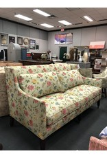 Green Striped Floral Wingback Sofa by Baker