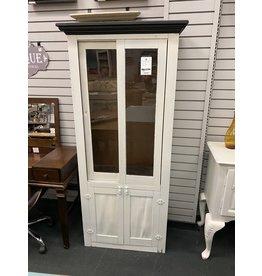 White Narrow Cabinet w/ Sliding Doors