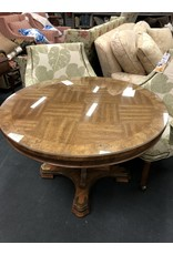 Round Pedestal Table w/ Brass Detail & Glass Top