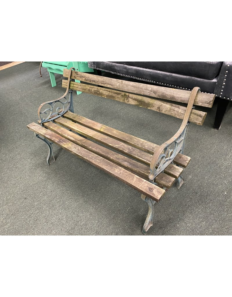 Child Size Iron and Wood Rustic Park Bench