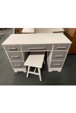 Gray and White Two Tone Desk and Stool