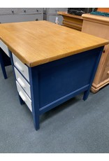 Solid Oak Blue and White Student Desk