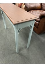 Teal and Wood Two Tone Sofa Table