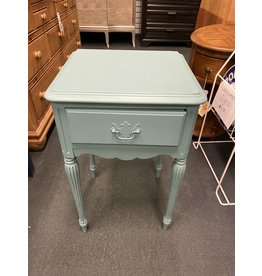 Teal Painted 1 Drawer Side Table