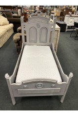 Gray Painted Toddler Size Antique Bed