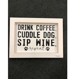 Coffee, Dog, and Wine Framed Sign