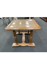 Wood Side Table w/ Glass Top