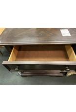 Dark Wood 3 Drawer Side Table