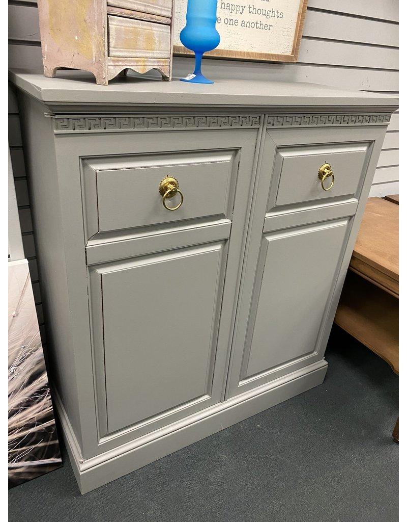 Gray 2 Door Cabinet w/ Gold Pulls