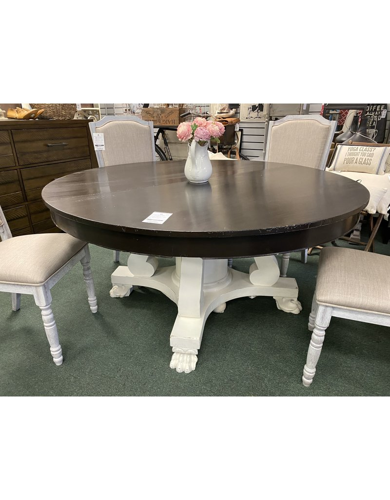 Two Tone Empire Style Pedestal Table w/ White Base