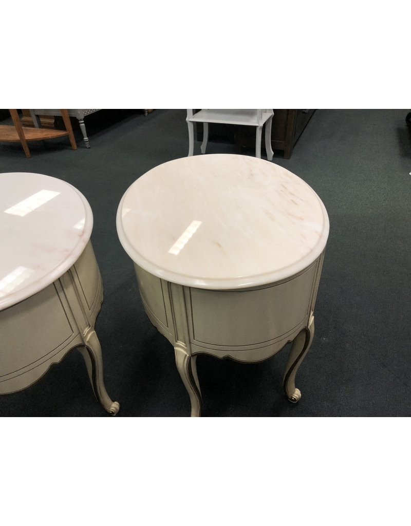 2-Piece Set Marble Top French Style Sidetables by Weiman