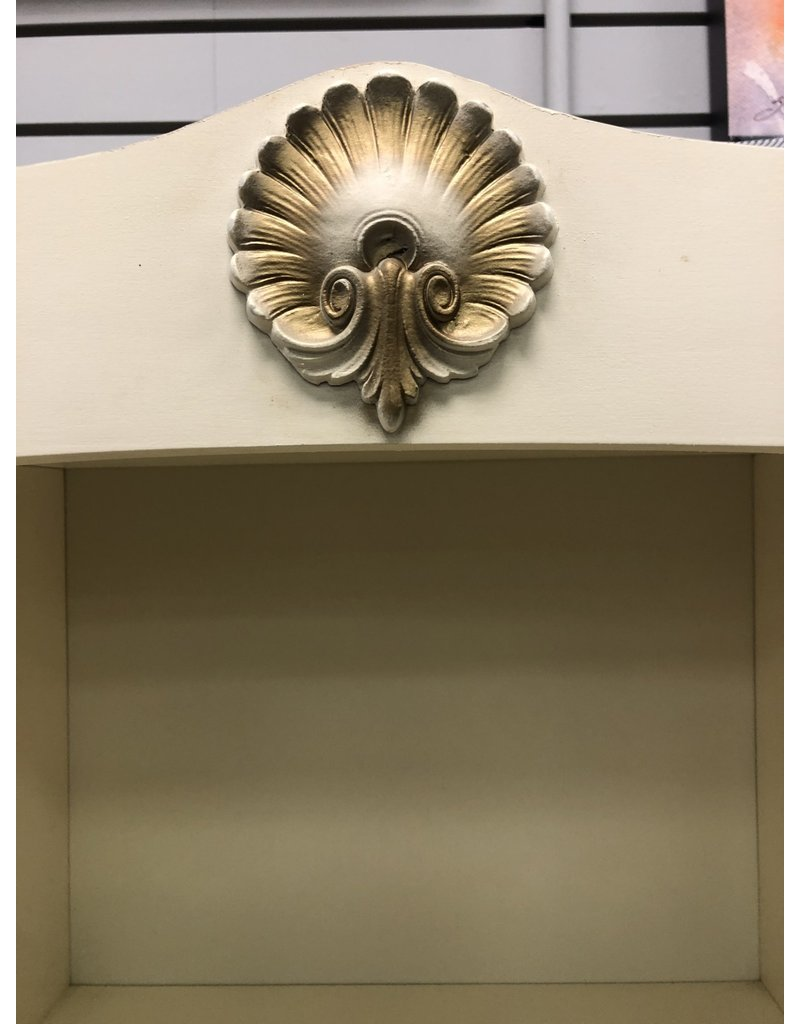 Cream Desk with Gold Accents and Hutch Top