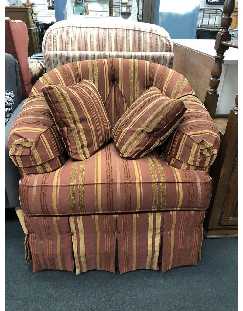 Red Striped Ethan Allen Armchair