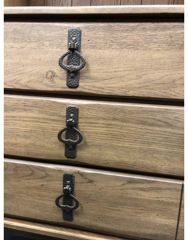 Gray Oak 3 Drawer Stand w/ Hutch Top