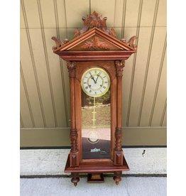 Carved Wood Mahogany Wall Clock