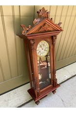 Carved Wood Mahogany Wall Clock