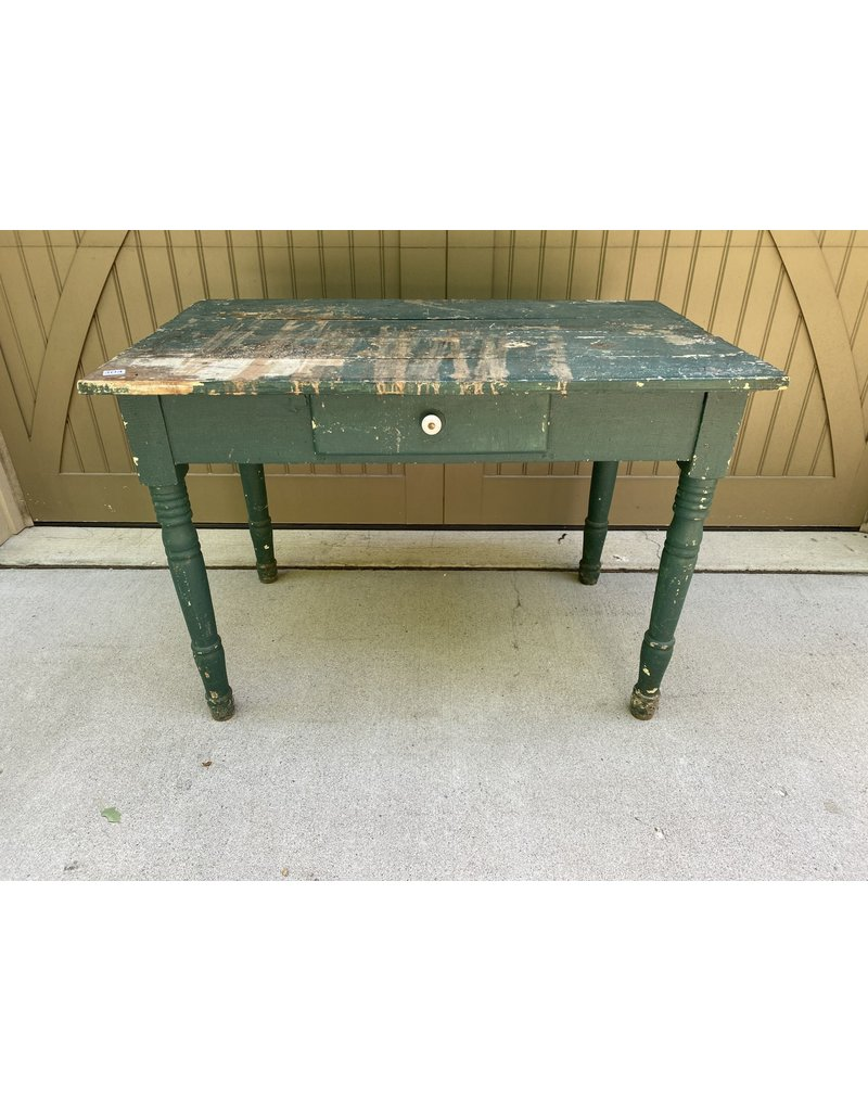 Green Chippy Farm Style Table w/ Drawer