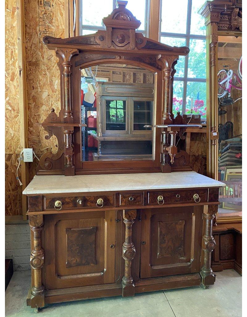 High Victorian Walnut Mirrored Buffet